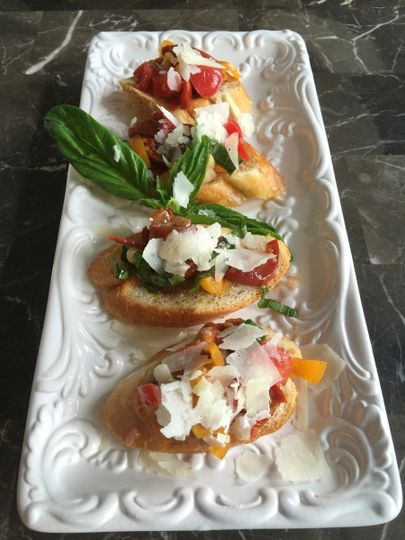 360 Catering and Events - Tomato, Fresh Basil Pesto & Shaved Parmesan Bruschetta