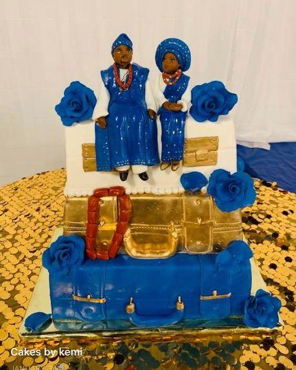 Blue and gold Nigerian traditi