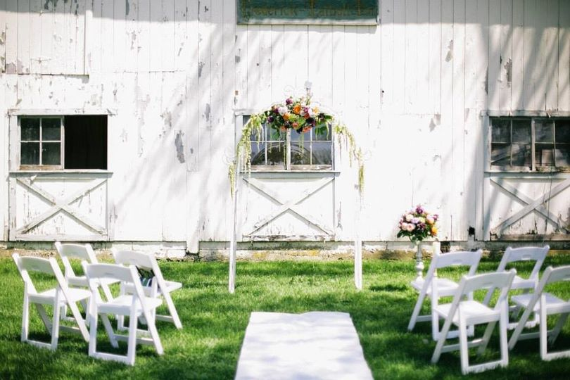 Rustic wedding ceremony area