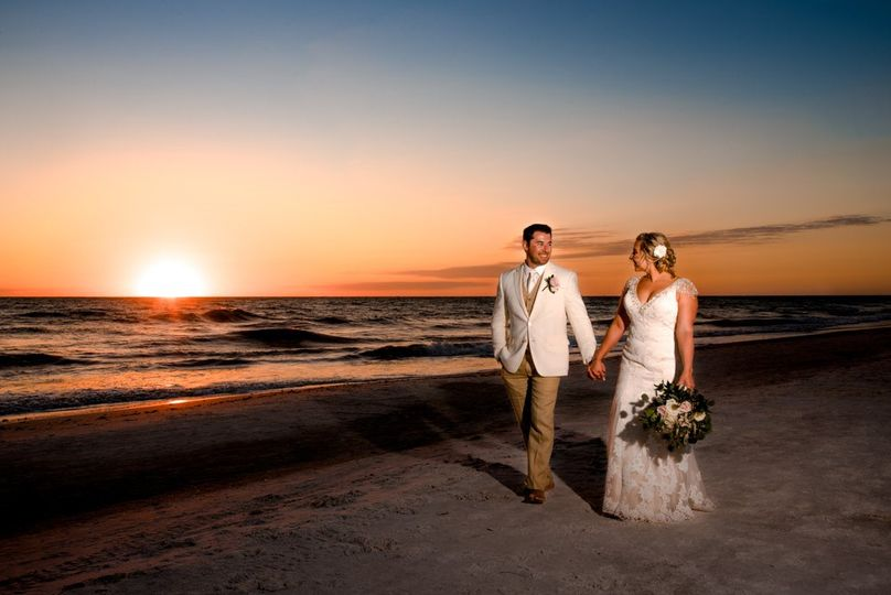 Newlyweds portrait: sunset