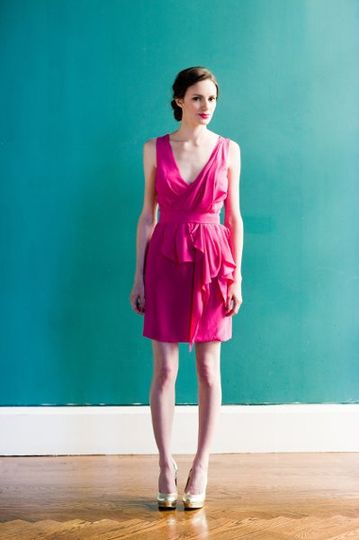 Delaford Dress - Crepe de chine dress in party pink with deep v-neck and draped peplum. Fully lined...