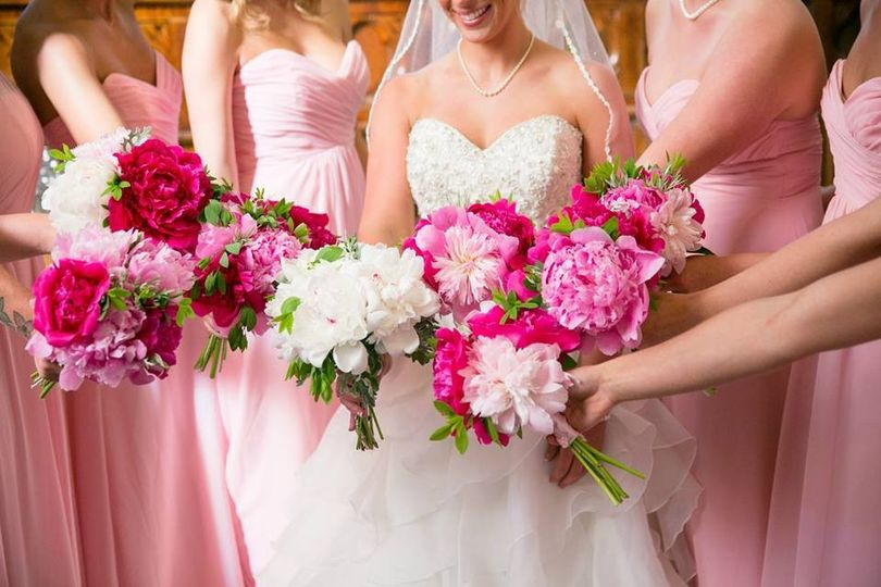 Pink peonies for the bridesmaids.  Photo credit goes to Nadra Photography