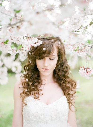 Curly haired bride