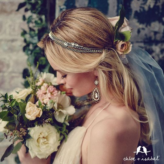 Crystal + Chain Strands Stretch Headband  $58  #H001GCR Pearl + Crystal Floral Filigree Earrings...