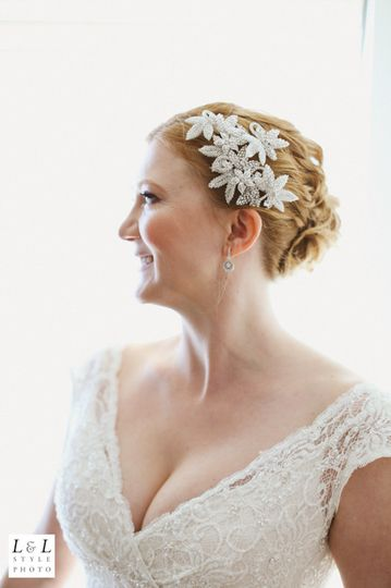 half up do with curls and decorative comb. so romantic!