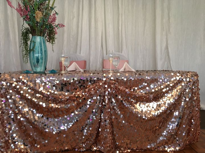 Rose gold sweetheart table