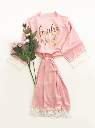 Gorgeous Pink Lace & Cotton Bridal Party Robe