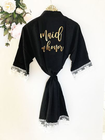 Gorgeous Black Lace & Cotton Bridal Party Robe