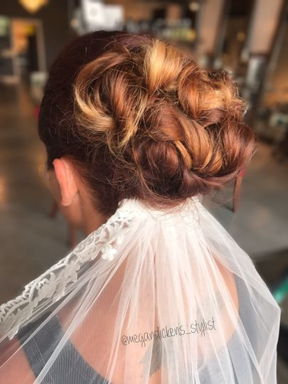 Curled wedding updo