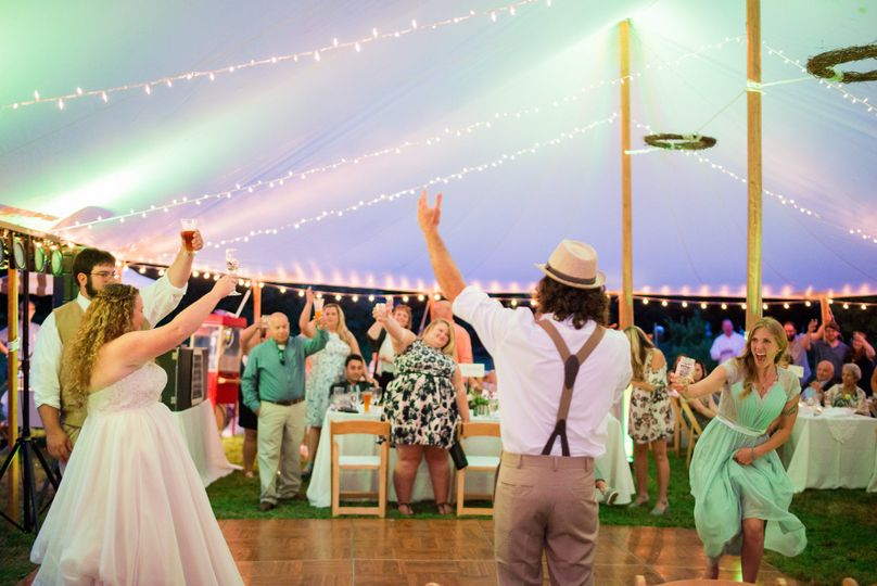 A toast to the newlyweds! at Chris and Kim's Falmouth Maine Wedding on Power Farm