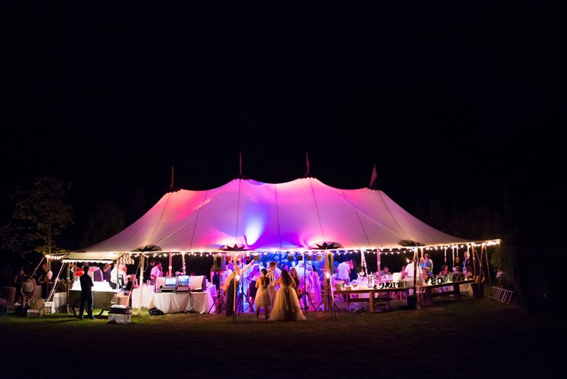 Lighting up the night at Chris and Kim's Falmouth Maine Wedding!