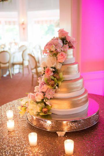WEdding cake setup with candles