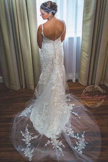 Wedding dress with a low back line