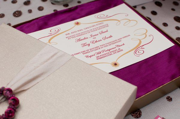 "Amelia Irene Design custom letterpress invitation ""Heart of Pure Pink and Gold featuring Gold..."