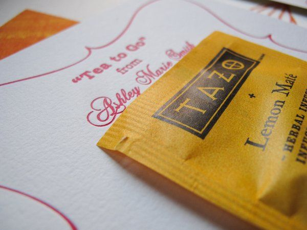"""High Tea for the Bride to Be"" by Amelia Irene Design close up image of favor card with tea bag..."