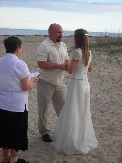 A simple ceremony on the beach at Tybee ...