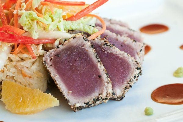 Sesame Seared Tuna with Carrot Ginger Rice and Miso Orange Slaw