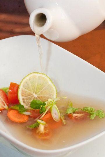 Mahi Mahi Soup poured tableside