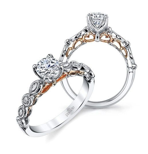 Parade engagement rings in silver with gold details