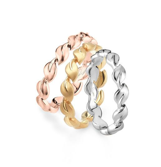 Rose gold, gold, and silver wedding rings