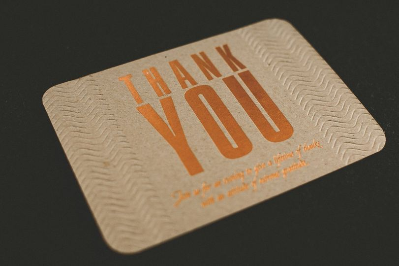 One Color Copper Foil with a blind deboss. Designed by The Invitation Lady