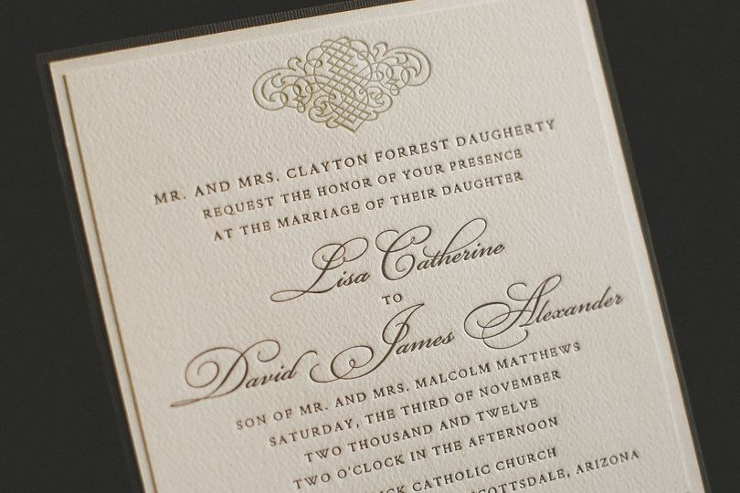 2 Color Letterpressed Invitation Designed by The Invitation Lady