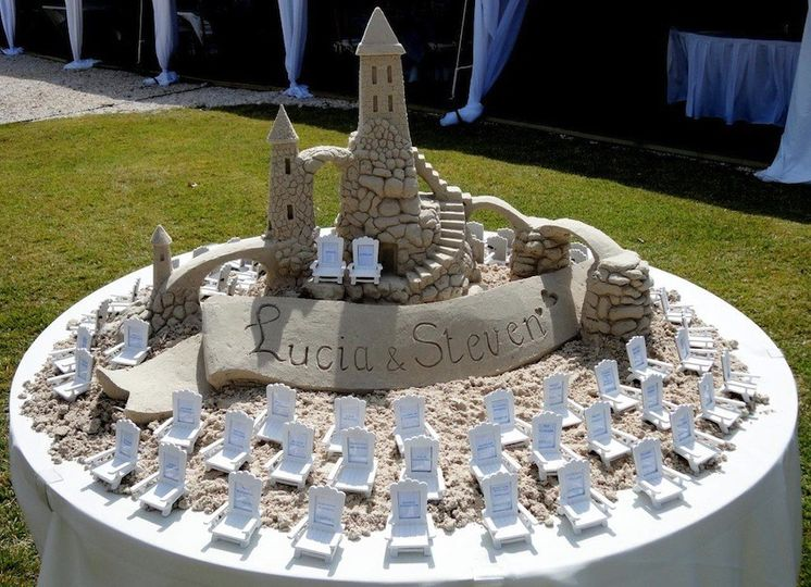 Table top sand castle with seating arrangements