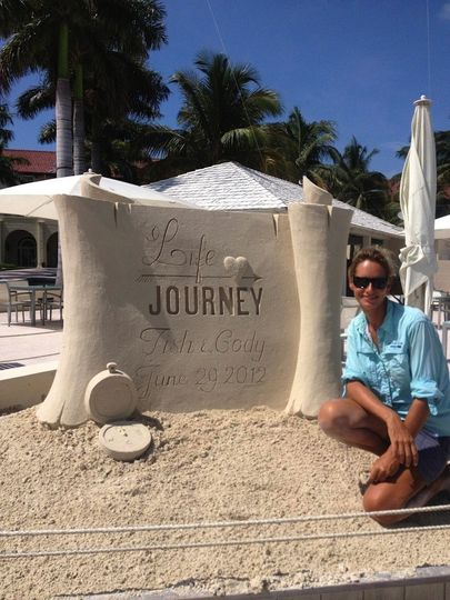 'Life is a Journey' proposal/wedding sand sculpture