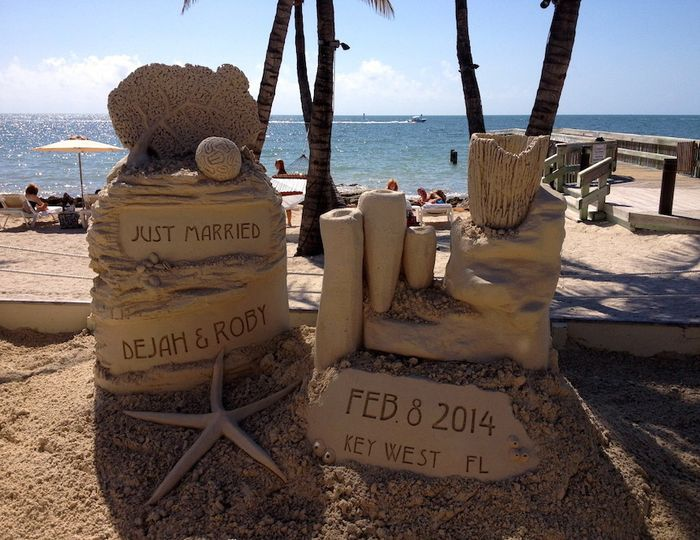 Just married sand sculpture