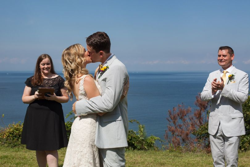 Angela & Michael share their first kiss as husband and wife at a private estate in Mattituck...