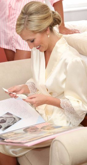The Sofia Robe - An elegant satin and lace wrap robe perfect for your getting ready photos.  Made...