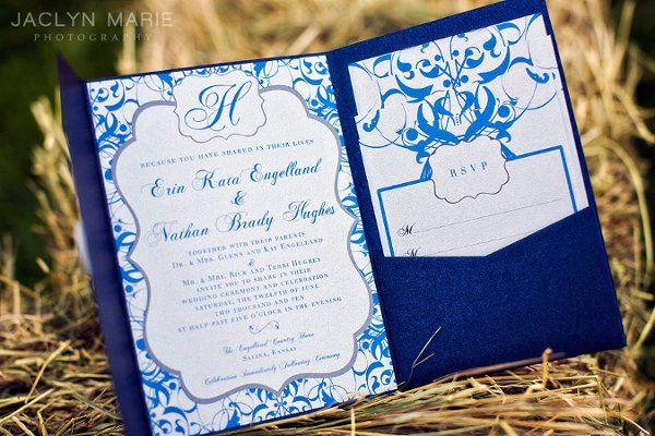 Gorgeous blue and silver custom wedding invitation with pocketfold enclosure.