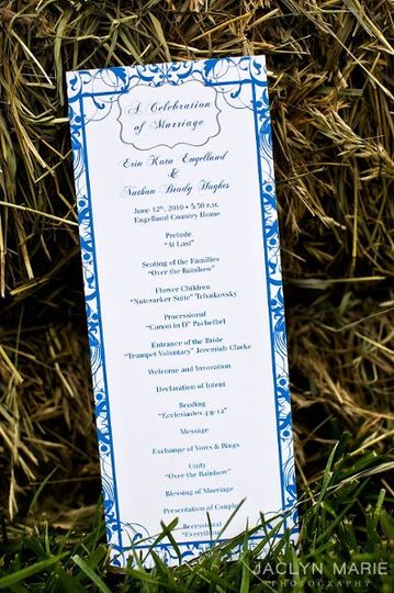 "4.25 x 11"" front and back wedding program. This program matched in design with the wedding..."