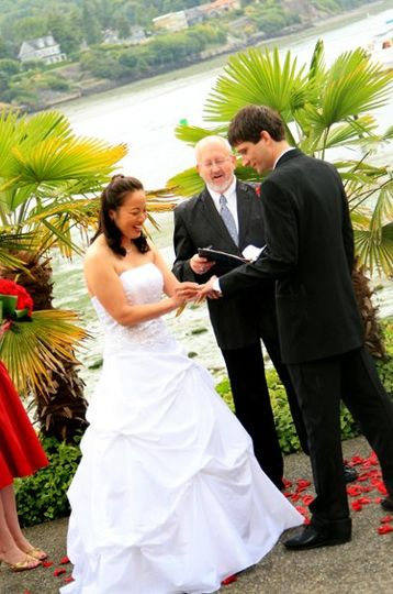 Wedding officiant at work