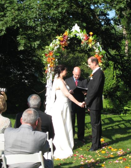Couple with secular officiant
