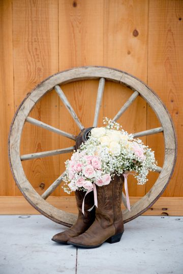 Bouquet in boots