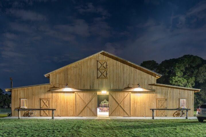 Evening lights at the barn
