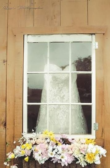 Wedding dress at the window