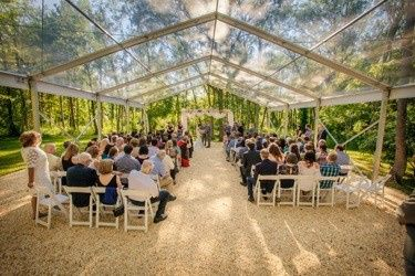 Our beautiful new outdoor ceremony site - Shaded by a canopy of trees