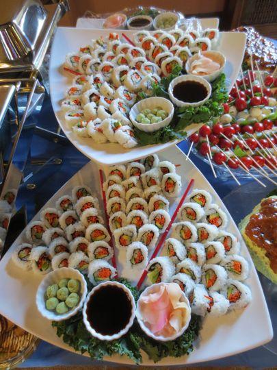 Sushi on an Appetizer Buffet