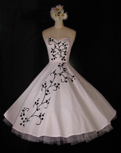 Strapless Cotton Tea Length 50's Vintage Style Dress With Silk & Rayon Ribbon Embroidery. Embroidery...