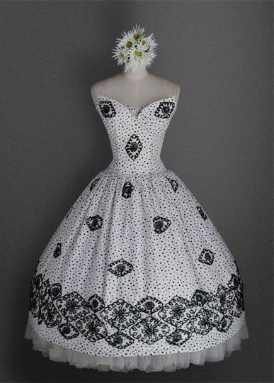 Strapless Cotton Tea Length 50's Vintage Style Dress With Dropped Waist & Tulle Ribbon Embroidery on...