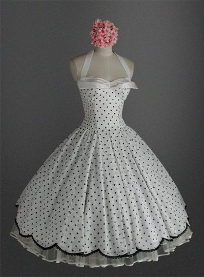 Strapless Polka Dot Lace Tea Length 50's Vintage Style Dress With Applied Lace Scalloped Edge and...