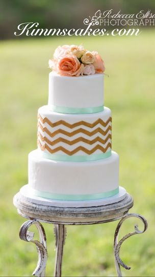 gold fondant chevron