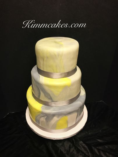 yellow and gray marble fondant