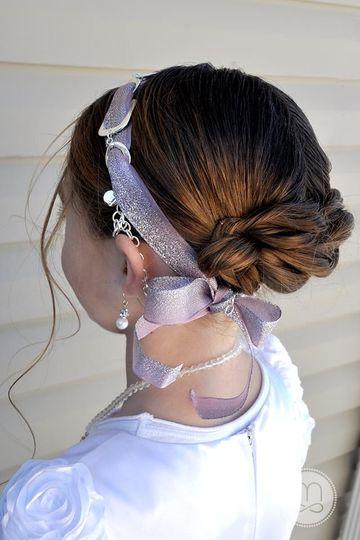 This sweet girl is wearing the VersaStyle piece Spun Sugar ($55.00).  Weave a beautiful ribbon...
