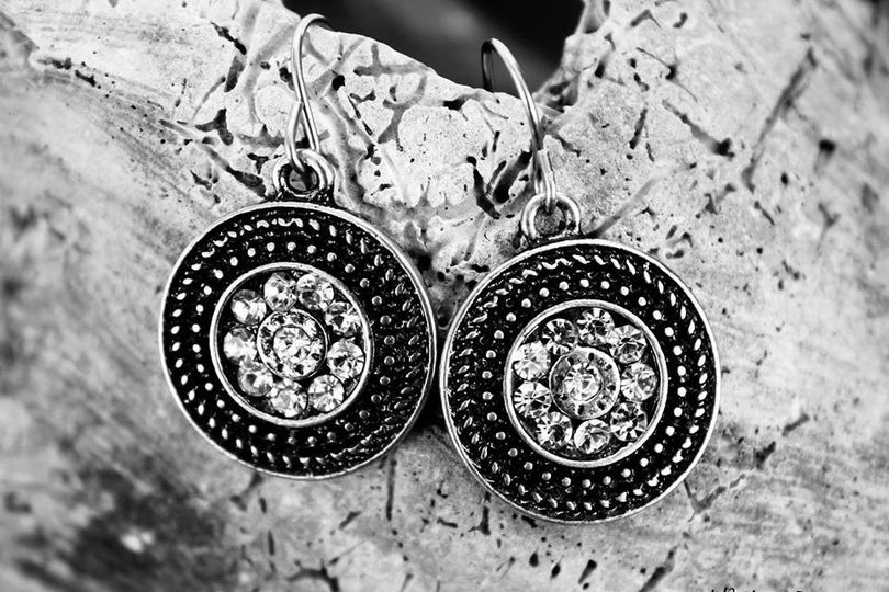 The Broadway - $19.00 These antique silver earrings are set with sparkling rhinestones.
