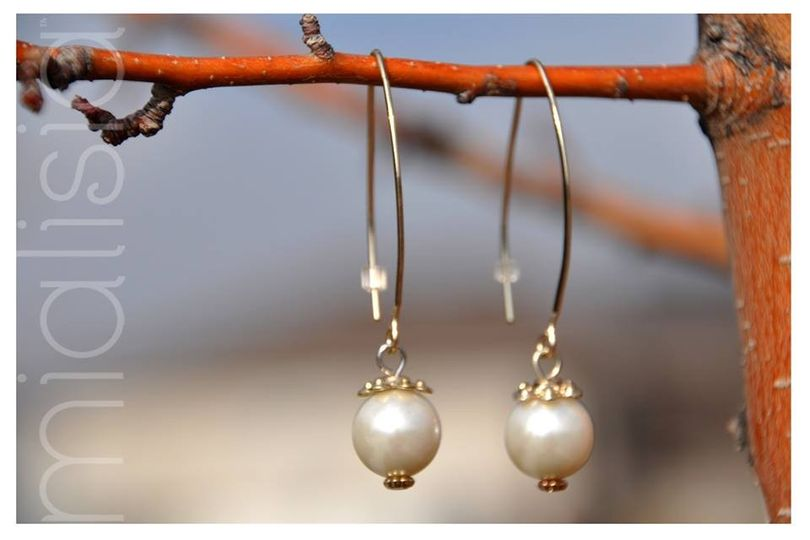 """Pear Drop Earrings - $24.00  2.25"""" large gold hoops are accented with glass pearls on these classic..."""