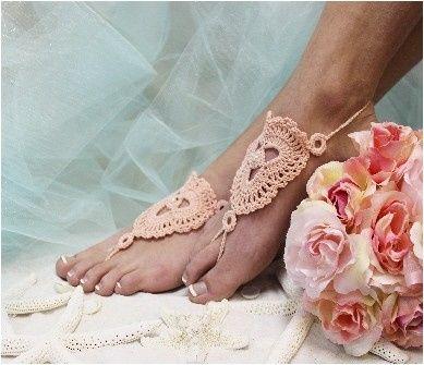 Tmx 1424112689429 Bf3 L Peach Crochet Barefoot Wedding Sandal Beach Mooresville wedding dress