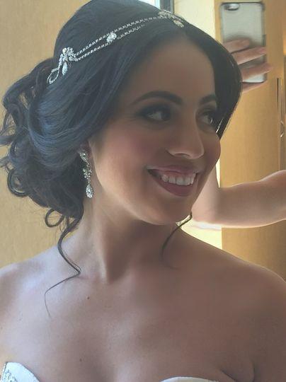 Bridal hair with headpiece